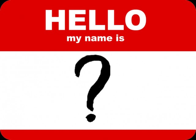 An image that says 'HELLO, my name is' '?'